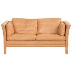 Midcentury 2-Seat Sofa in Leather by Mogens Hansen