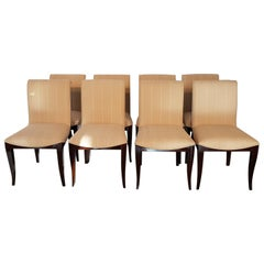 Set of 8 Pieces French Art Deco Dark Walnut Dining Chairs