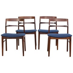 Mid-century Danish Set of 4 Chairs in Rosewood by Henning Kjaernulf for Vejle