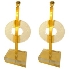 Large Pair of Midcentury Modern Clear Glass / Brass Italian Table Lamps, 1960s