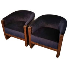 Pair of French Art Deco Armchairs with Ziricote Wood and Navy Blue Upholstery