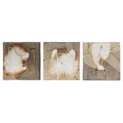 Sculptural & Architectural Ceramic Triptych Wall Panel by French Artist