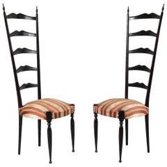 Pair of Paulo Buffa Highback Side Chairs, Italy, 1950