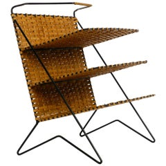 Mid Century Rattan Bast Newspaper and Magazine Rack with Metal Frame