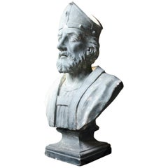 19th Century Painted Plaster Portrait Library Bust of St. Patrick, Milford House