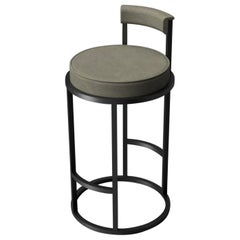 Diana Bar Stool Circular with Back Rest in Steel Powder-Coated and Novasuede
