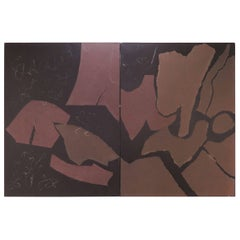Large Abstract Mixed Media Diptych Painting by Polly Doyle Dated 1978