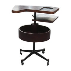 Round Geometric Bar Table Revolving Iron Rosewood Laminate, 1950s