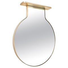 """Drip Drop Mirror"", Minimalist Brushed Bronze Wall Mirror with Shelving"