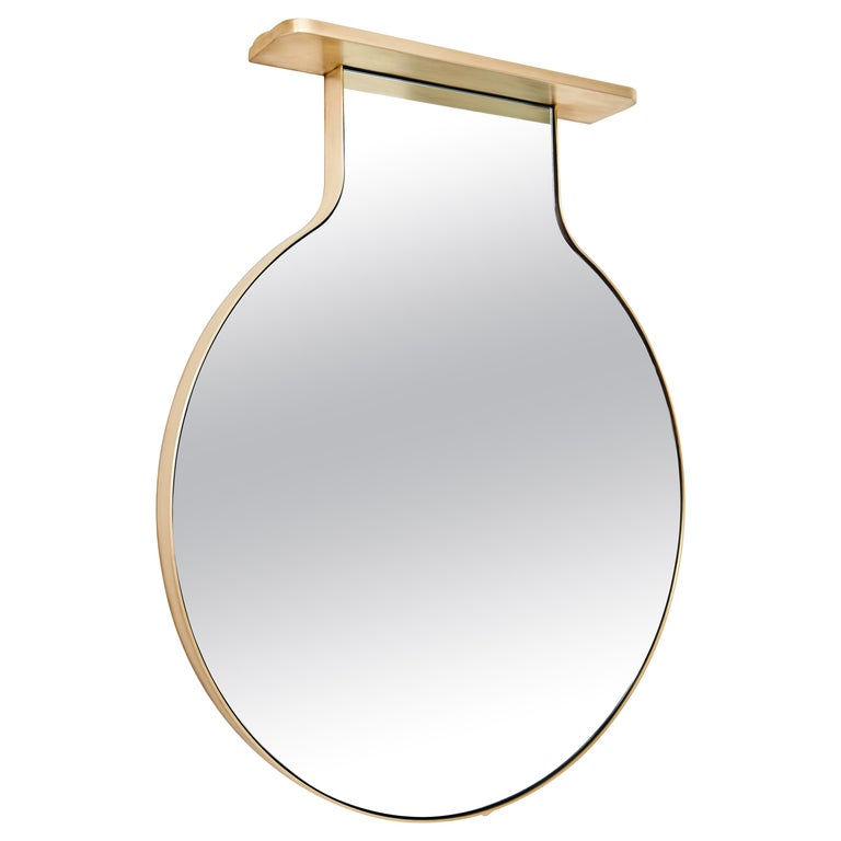 """""""Drip Drop Mirror"""", Minimalist Brushed Bronze Wall Mirror with Shelving For Sale"""