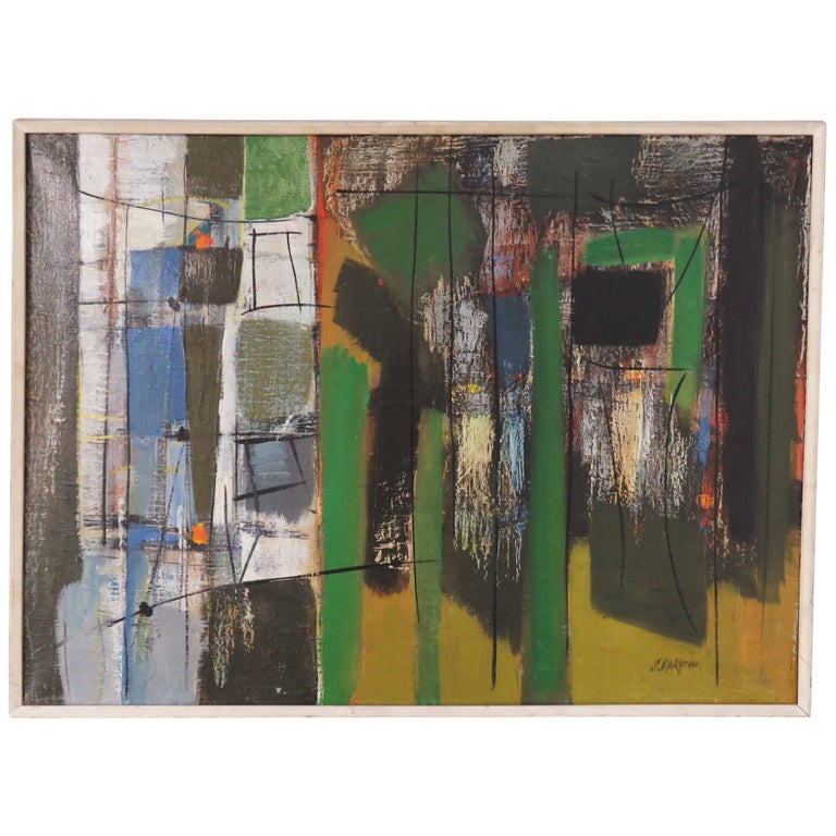 Abstract Expressionist Painting by Important Israeli Artist Shmuel Raayoni For Sale