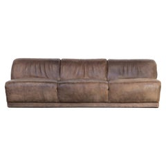1970s Neck Leather Sofa in the Style of De Sede