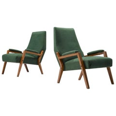 Pair of Italian Lounge Chairs with Green Upholstery