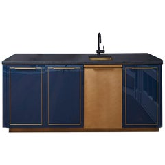 Amuneal's Gloss Lacquer Bar with Integral Brass Sink