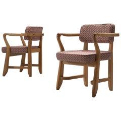Guillerme et Chambron Pair of 'Bridge' Arm Chairs, 1950s