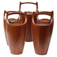 Collection of Five Staved Teak 'Congo' Ice Buckets by Jens Quistgaaard for Dansk