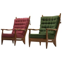 Guillerme et Chambron Pair of Lounge Chairs with Pink and Green Upholstery