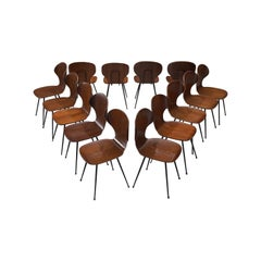 Italian Set of Fourteen Dining Chairs of Plywood and Metal
