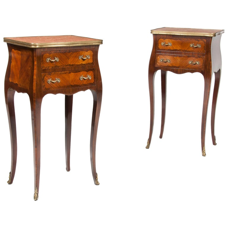 Elegant Pair of Antique French Marble-Top Bedside Cabinets For Sale