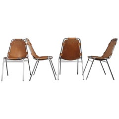 Set OF Four 1960s Brown Leather Charlotte Perriand Les Arcs Chairs