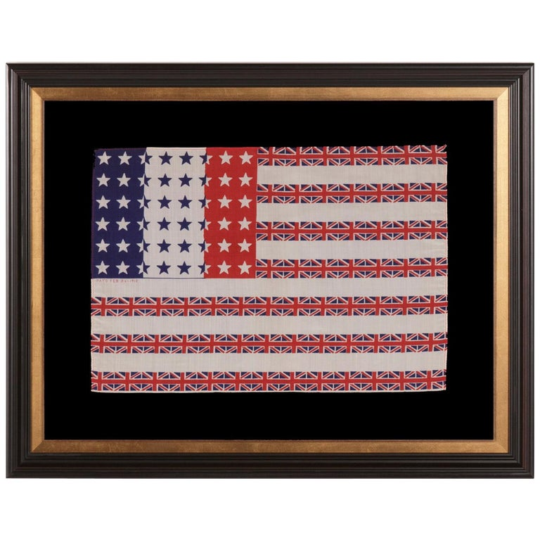 """48 Star """"Franco-anglo-american"""" Parade Flag Designed by Albert Hewitt For Sale"""