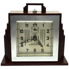 1930s Art Deco Red Bakelite Clock by Blangy