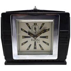 1930s Art Deco Black Bakelite Clock By Blangy
