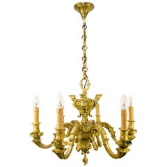 French Baroque Style Bronze Six-Light Chandelier