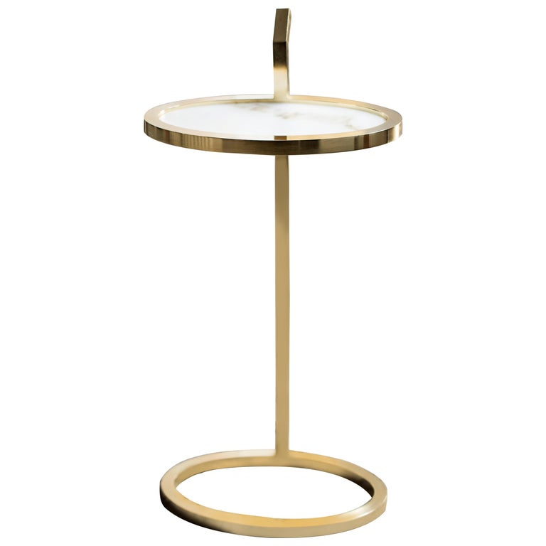 Manhattan Martini Table in Polished Brass Plated and Marblo Surface For Sale