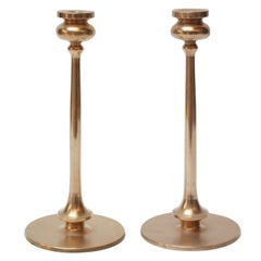 Large Mid-Century Turned Copper Candlesticks