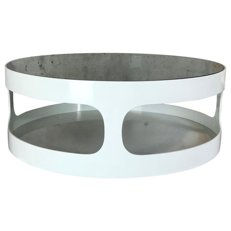 Coffee Table with Smoked Glass by Erik Van Buijtenen for Nebu, Netherlands 1970s For Sale