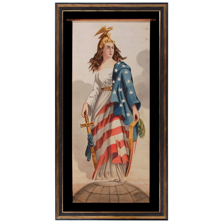 Lady Columbia Surmounting the Globe with Sheathed Sword and Federal Shield For Sale