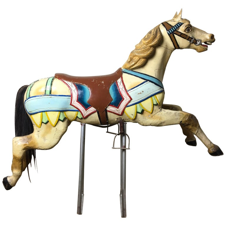 Early 20th Century Carved Wood Carousel Horse by Atelier J. Hübner Germany  For Sale