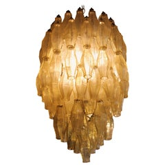 Murano Polyhedral Amber Glass Chandelier in the Style of Venini