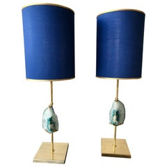 Contemporary Pair of Brass Lamps Blue Agate Stone