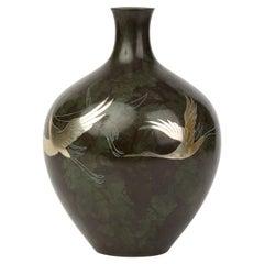 Vintage Japanese Silver Inlaid Patinated Bronze Vase, 20th Century