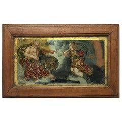 Verre Églomisé Painting of God and Archangel