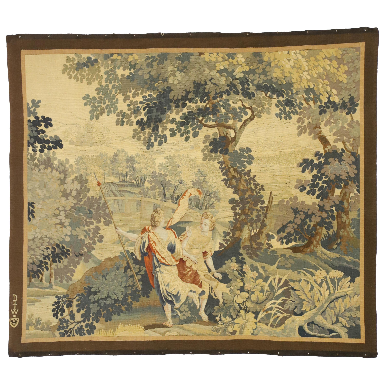 Antique Flemish Mythological Tapestry, Medieval Baroque Wall Hanging