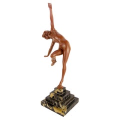 Art Deco Style Bronze Nude Lady with Snake Figure