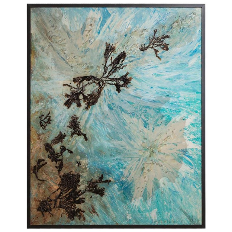 Abstract Mixed-Media Framed Painting 1960s Signed Hutchings V For Sale