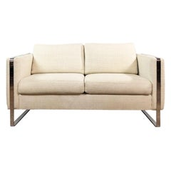 Milo Baughman Chrome Frame Sofa Loveseat