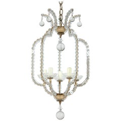 Italian Crystal Beaded Chandelier Pendant