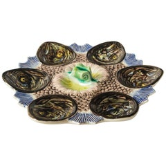 French Majolica Fish Head Oyster Plate, Late 19th Century