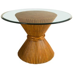 Vintage McGuire Bamboo Pedestal Table