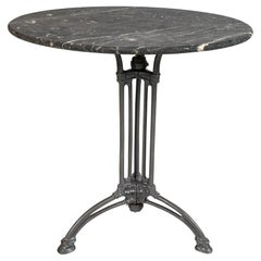 French Marble Top Cast Iron Bistro Table, circa 1900