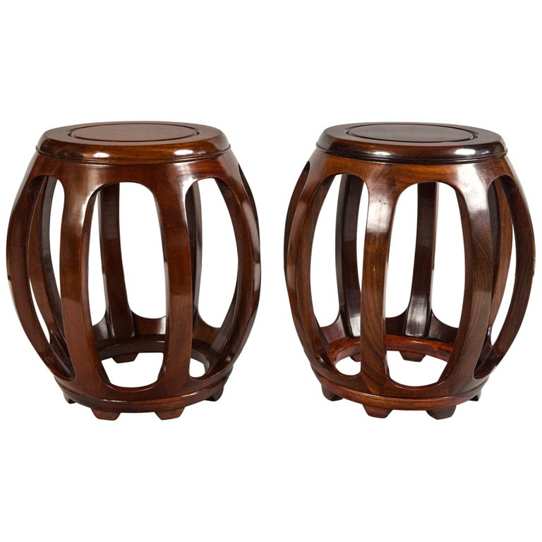Pair of Asian Rosewood Garden Stools, Mid-20th Century For Sale