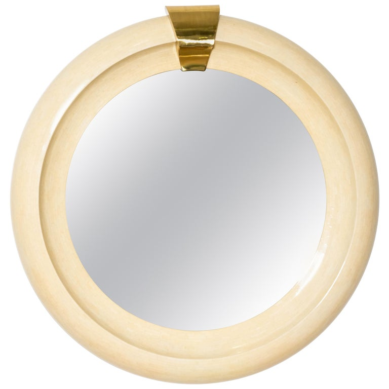 Oversized Round Mirror Tessellated Bone and Brass For Sale