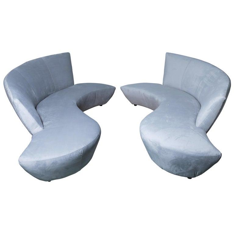 Pair of Vladimir Kagan Bilbao Serpentine Sofas For Sale