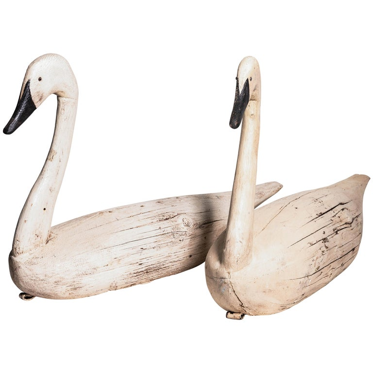 Pair of Monumental Swan Decoy's Early 1900s For Sale