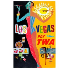 Original Vintage Las Vegas Fly Twa Poster by David Klein Trans World Airlines